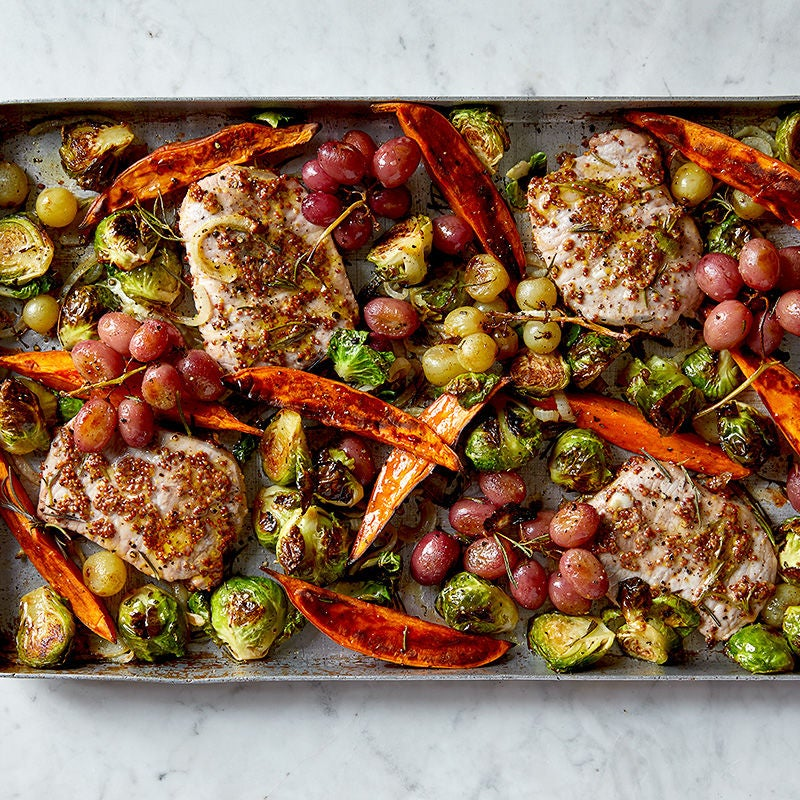 Photo of Rosemary pork with brussels sprouts, sweet potatoes and grapes by WW