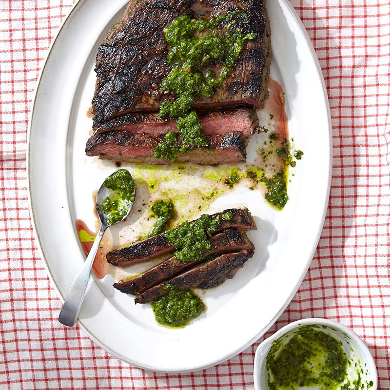 Photo of Argentinian flank steak with homemade chimichurri by WW