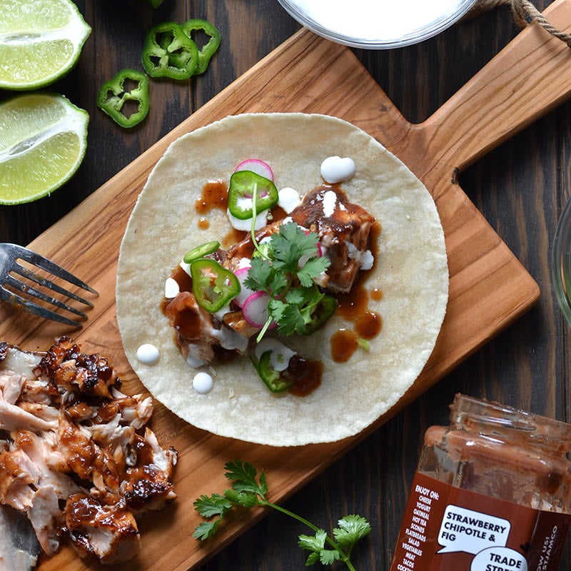 Photo of Strawberry chipotle-glazed salmon taco filling by Trade Street Jam Co. by WW
