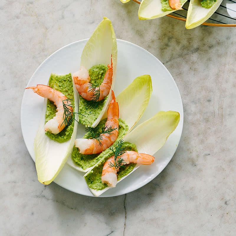 Photo of Shrimp with green hummus and endive by WW