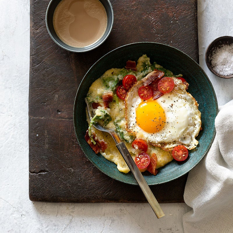 Photo of Slow Cooker Cheese Grits and Greens with an Egg by WW