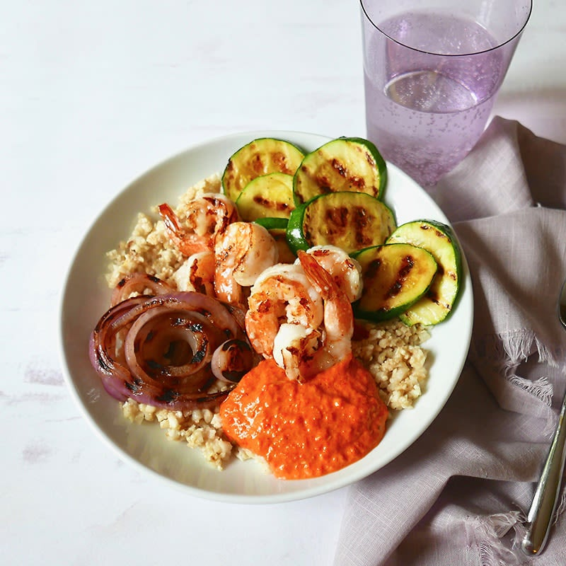 Photo of Cauliflower Rice Bowl with Grilled Shrimp and Romesco by WW