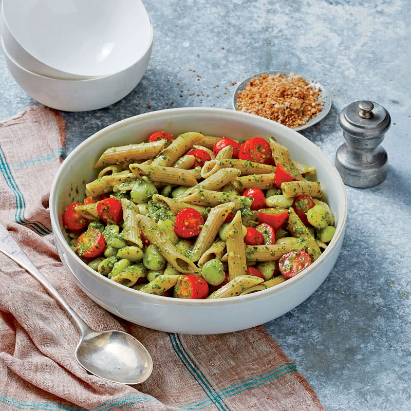 Photo of Gemelli with tomatoes, limas, and arugula pesto by WW