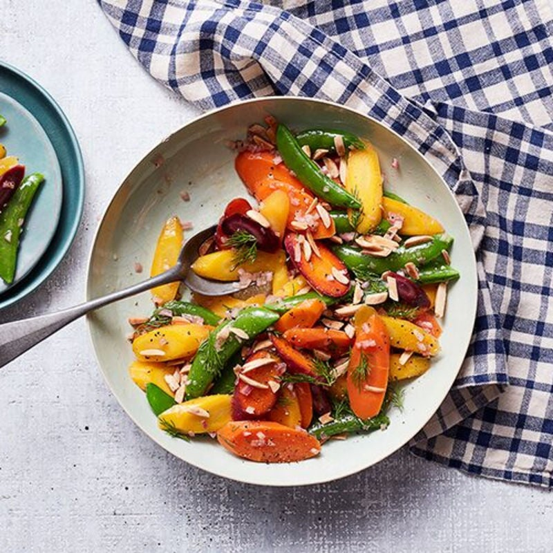 Photo of Rainbow carrots and sugar snaps with sherry-dill vinaigrette by WW