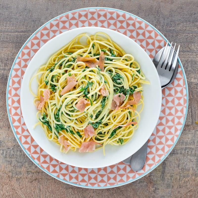 Photo of Spaghetti alla Carbonara with spinach by WW