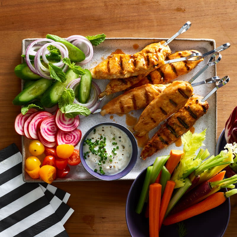 Photo of Buffalo Chicken Skewers with Blue Cheese Dipping Sauce by WW