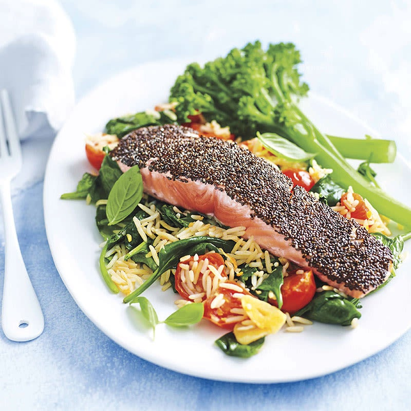 Photo of Chia-crusted salmon with spinach rice by WW
