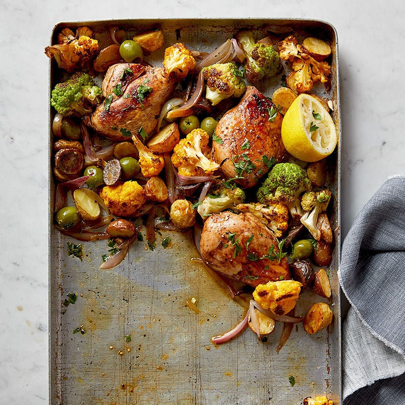 Photo of Garlic-thyme chicken with cauliflower, potatoes, and olives by WW