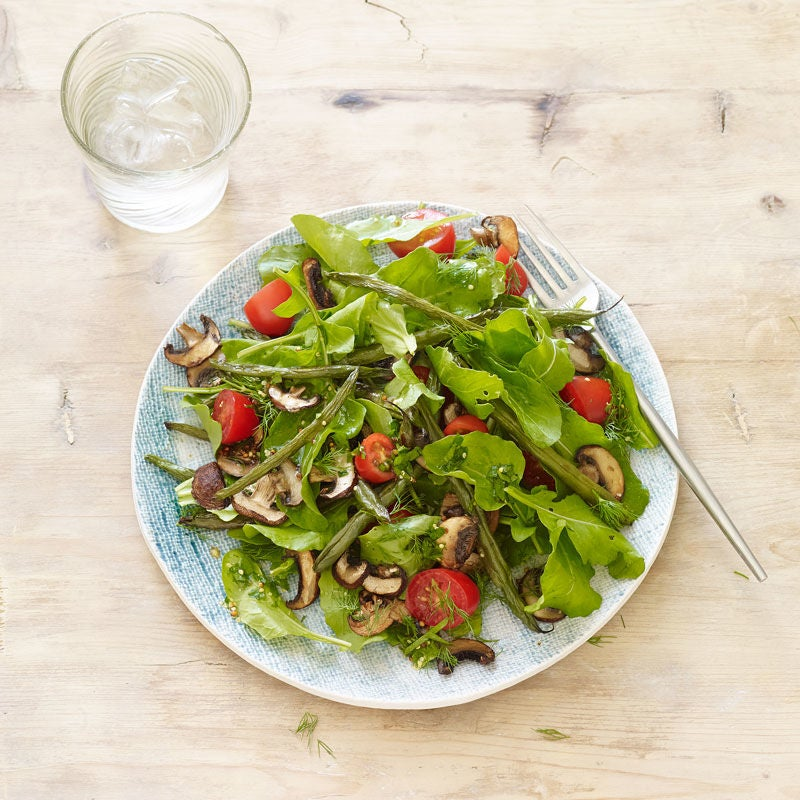 Photo of Arugula, Roasted Green Bean & Mushroom Salad with Herb Vinaigrette by WW