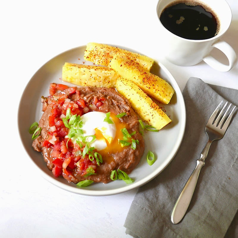 Photo of Refried beans with poached egg and pico by WW