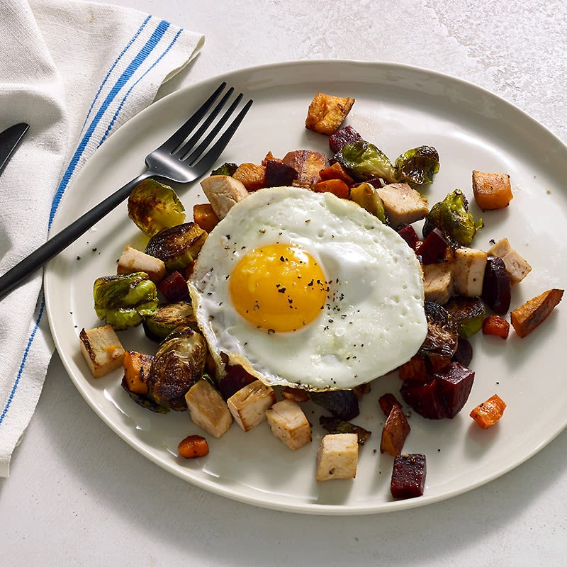 Photo of Leftover turkey hash with roasted veggies and a fried egg by Chef Eric Greenspan by WW
