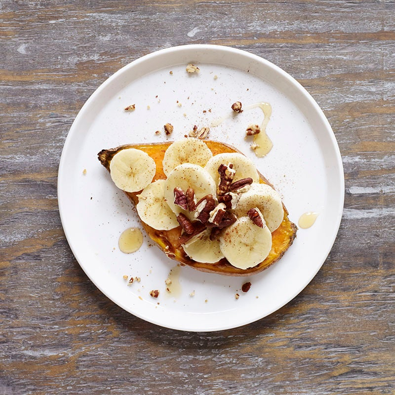 Photo of Sweet potato toast with banana, honey, and pecans by WW
