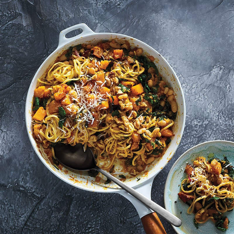 Photo of Spaghetti with butternut squash, white beans, and kale by WW