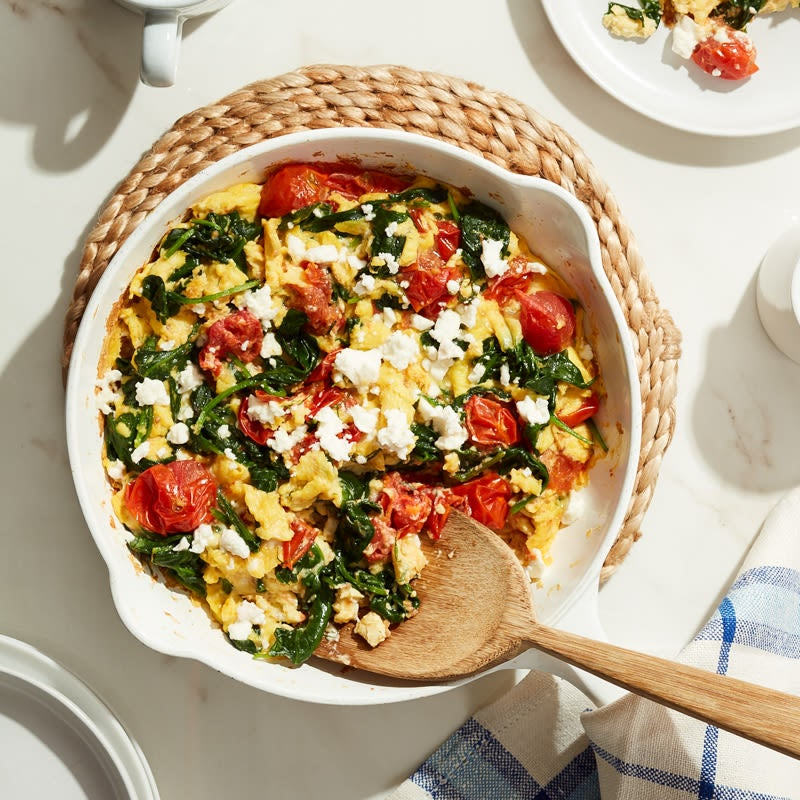 "Photo of Cat Cora's Greek egg scramble with ""tomato raisins"" by WW"