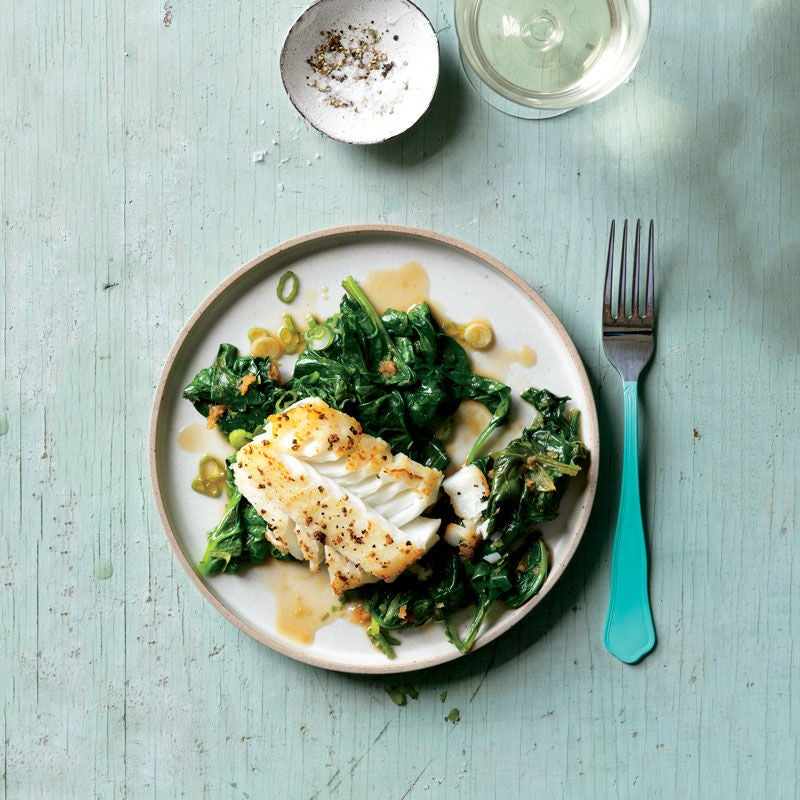 Photo of Soy-Glazed Fish with Stir-Fried Spinach by WW