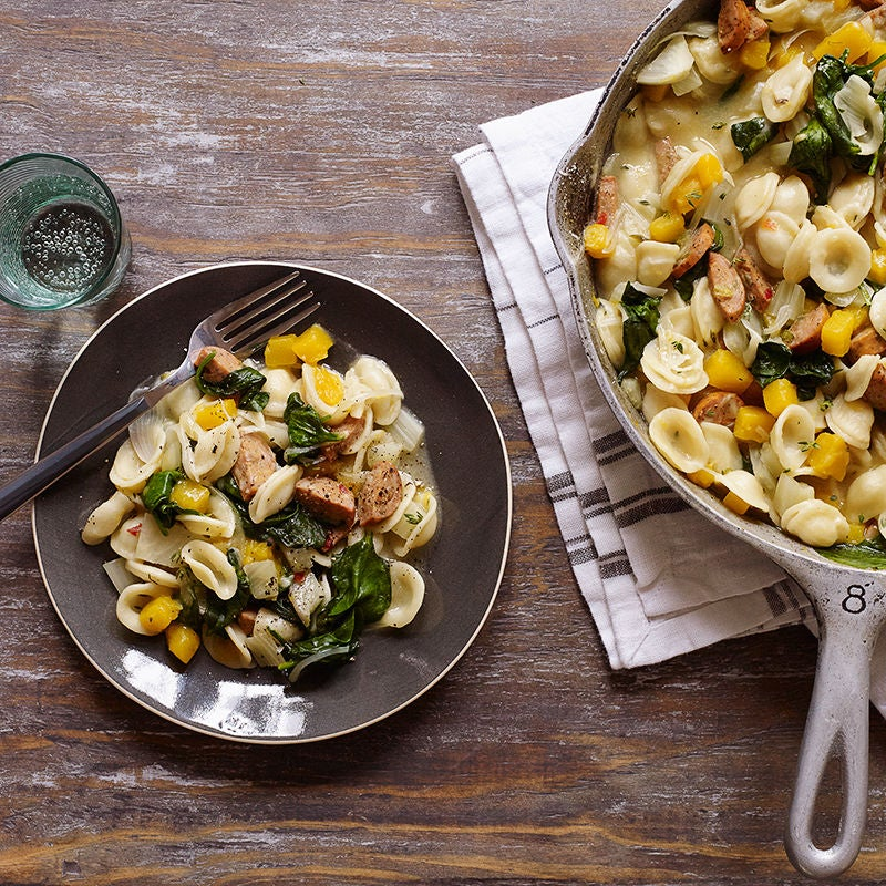 Photo of One-pot orecchiette with sausage, fennel, and butternut squash by WW