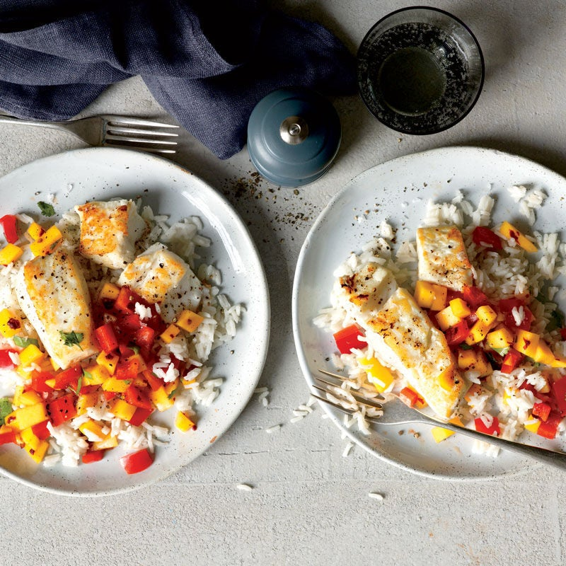 Photo of Sautéed halibut with coconut rice and mango salsa by WW