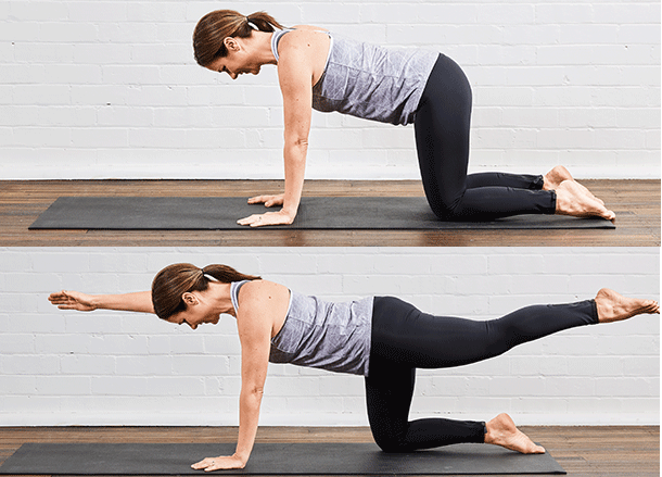 Alternate arm and leg balance in four point