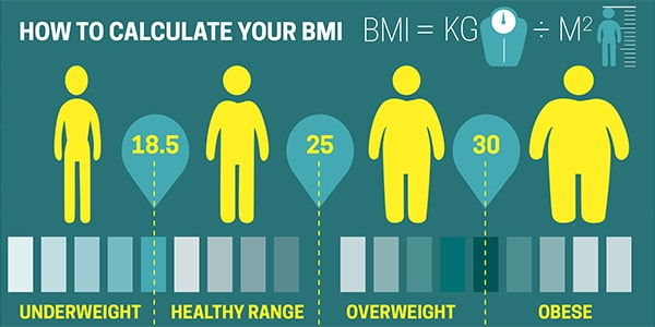 BMI chart including underweight, healthy, overweight and obese range.