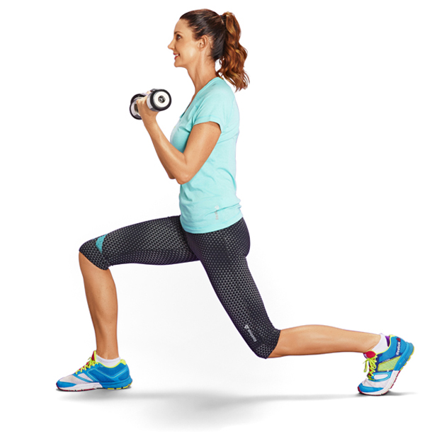 Lunge with bicep curl