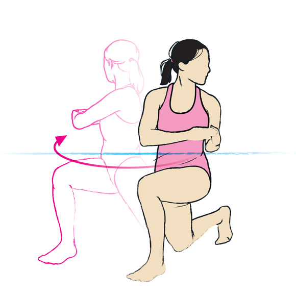 Rotating lunge jumps