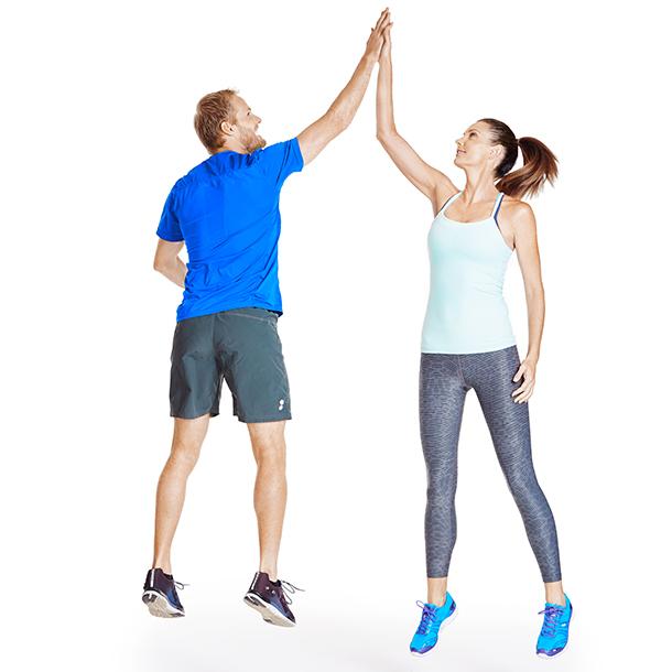 Squat jump high-fives