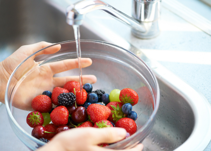 Berries being washed