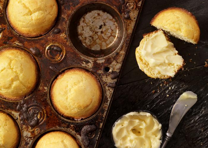 Cornbread muffins in a rustic pan