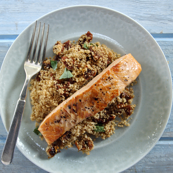 Pan-seared Salmon with Sundried Tomato Couscous