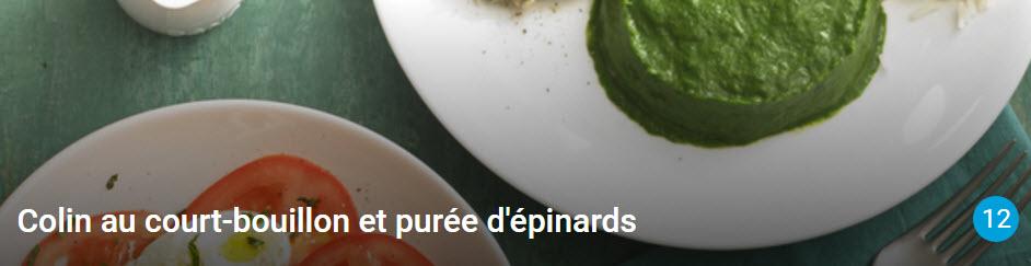 Colin au court-bouillon et purée d'épinards