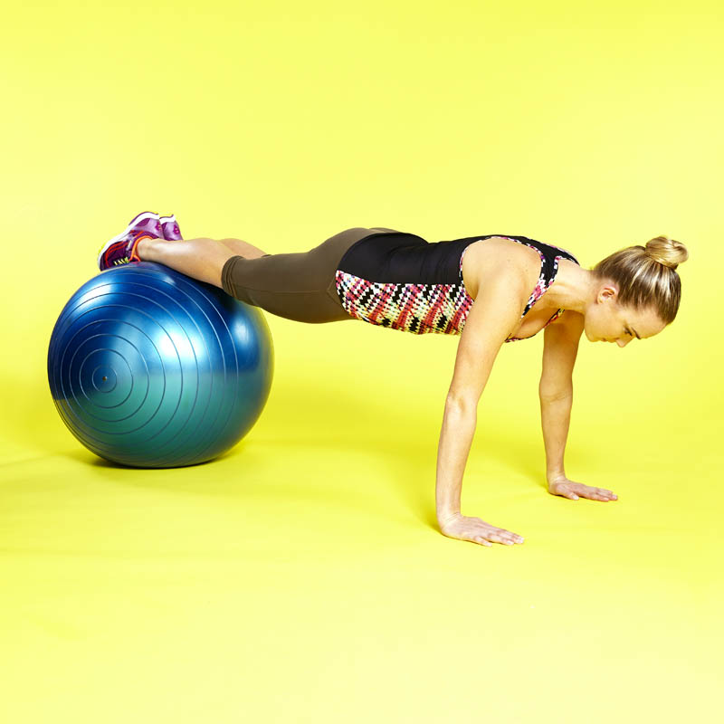 Push-up on exercise ball