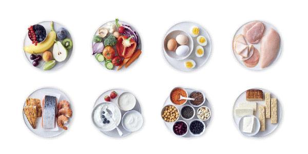 Blå NollPointsmat frukt, grönsaker och proteinrik livsmedel