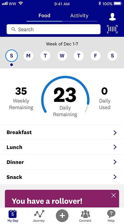 Weight Watchers App Tracker