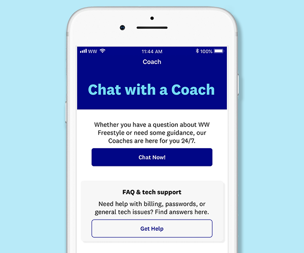 Weight Watchers Chat with a Coach screen