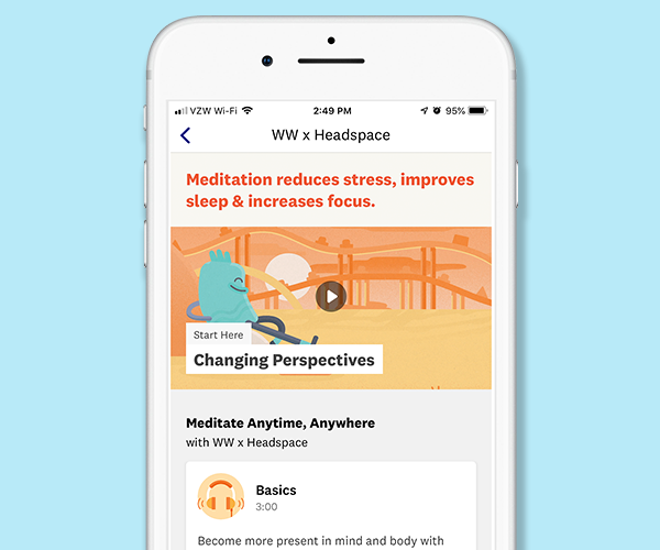 Weight Watchers and Headspace App Screen