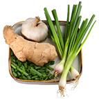 Garlic, green onions & ginger