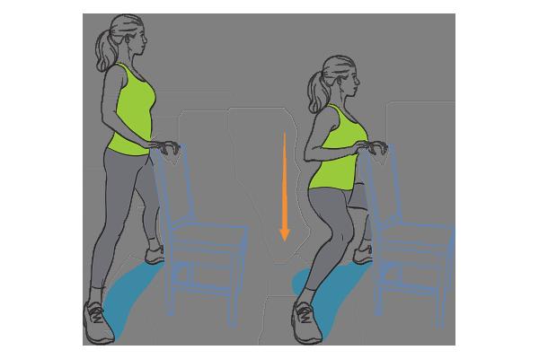 Plié squat with chair