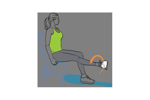 Leg extension with external hip rotation