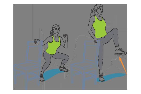Plié squat to knee lift