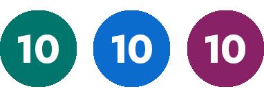 Grön 10, Blå 10, Lila 10