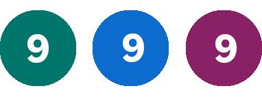 Grön 9, Blå 9, Lila 9