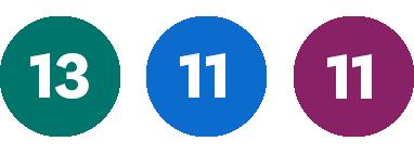 Grön 13, Blå 11, Lila 11