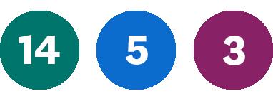 Grön 14, Blå 5, Lila 3