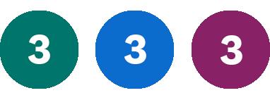 Grön 3, Blå 3, Lila 3