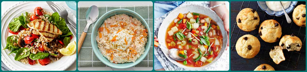 Haloumi, brown rice and spinach salad, Carrot cake overnight oats, Easy Minestrone soup, Banana and choc-chip muffins