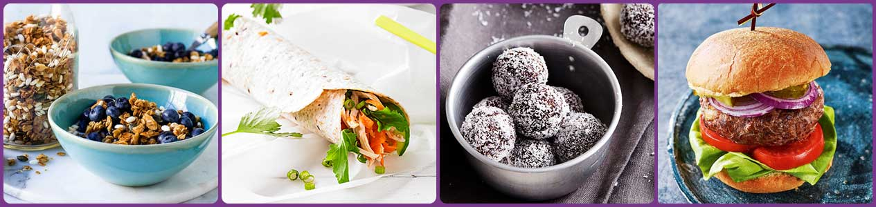Homemade toasted muesli, Chilli chicken wrap, Anna's cocoa bliss balls, Easy beef burger