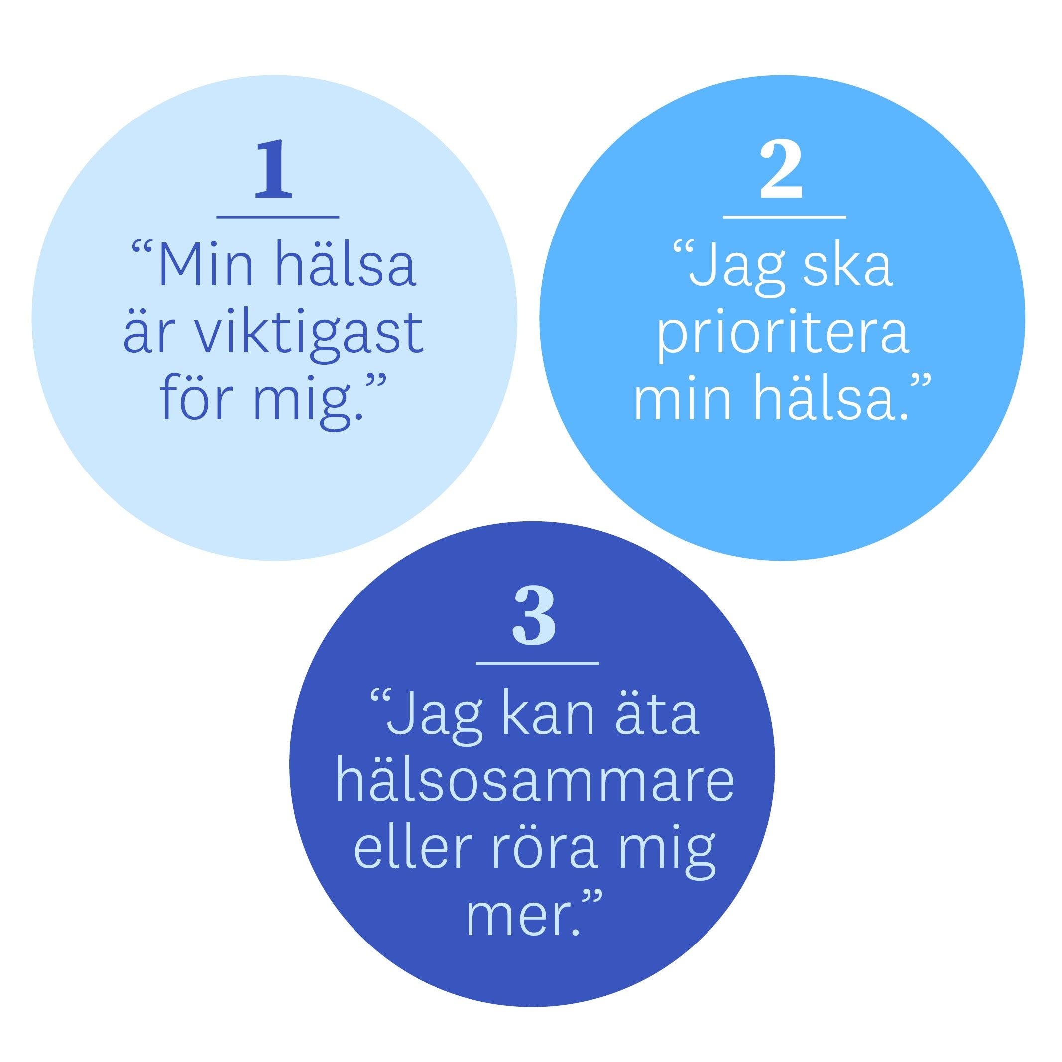 """Teknik 1 """"Min hälsa är viktigast för mig."""", 2 """"Jag ska prioritera min hälsa."""", 3""""Jag kan äta hälsosammare eller röra mig mer."""""""