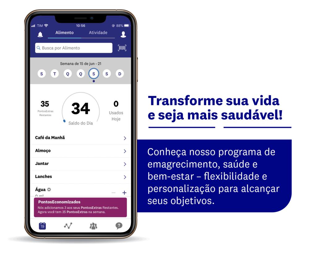 """Imagem de celular com a tela aberta no aplicativo dos Vigilantes do Peso ao lado da seguinte frase: """"Transforme sua vida e seja saudável"""""""
