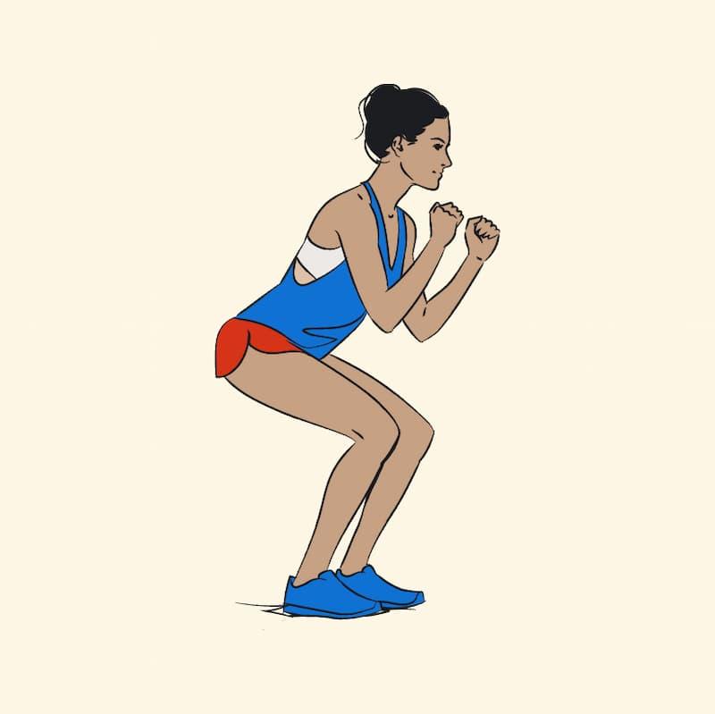 ilustração de exercícios para pernas chamado agachamento