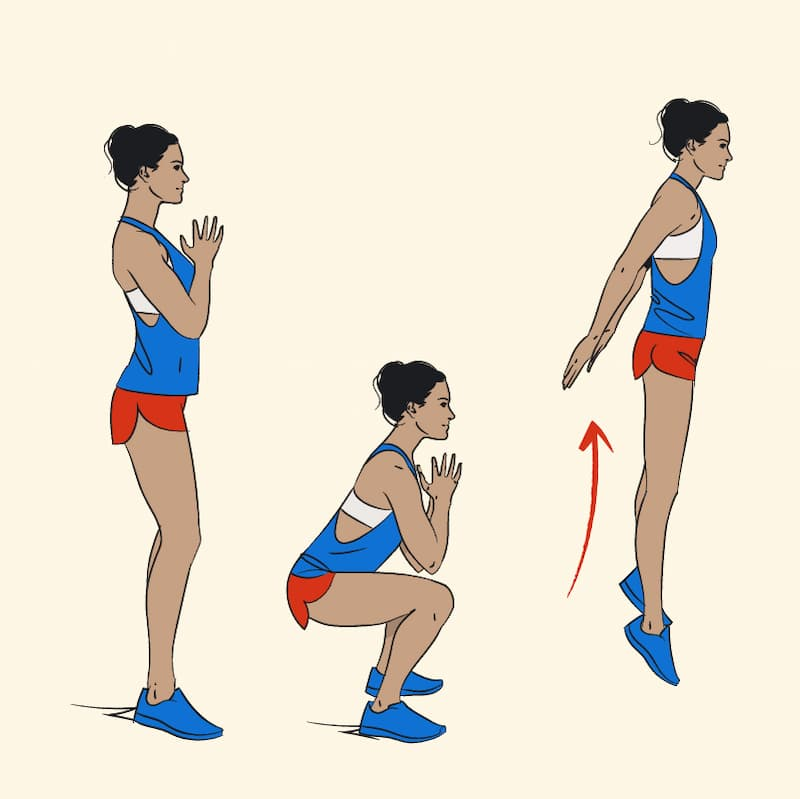 ilustração de exercícios para pernas de agachamento com salto